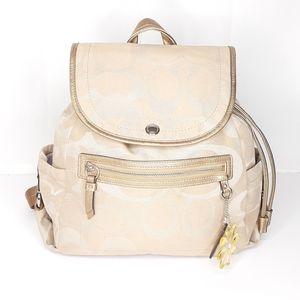 Coach Kyra DAISY Signature Backpack Kahki/Gold Bag